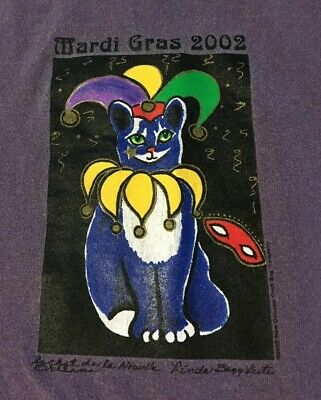 Mardi Gras New Orleans 2002 Jester Cat Shirt L Vtg French Quarter Festival Party
