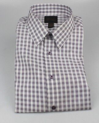 Joseph Jos  A  Bank Button Up Shirt Purple Checkered Slim Fit 4005 651 New