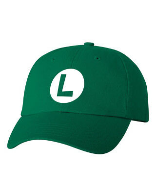 Luigi Costume Halloween Smash Bros Unstructured Dad Hat Adjustable Cap-Green