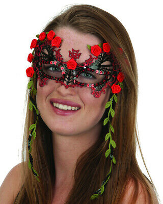 Adults Vine Red Rose Senorita Day Of The Dead Eye Mask Costume Accessory (Red Vines Halloween)