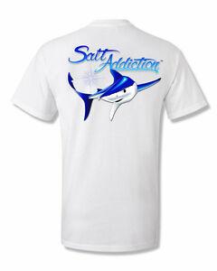 Salt addiction saltwater fishing t shirt shark ocean fish for Saltwater fishing shirts