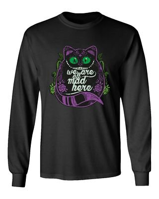 Cheshire Cat Shirt Wonderland Halloween Funny Men's Long Sleeve T-Shirt (Cheshire Cat Halloween Man)