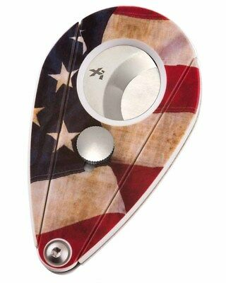 XiKAR Xi2 201USA Cigar Cutter W Free Leather Sheath US Flag Lifetime Warranty