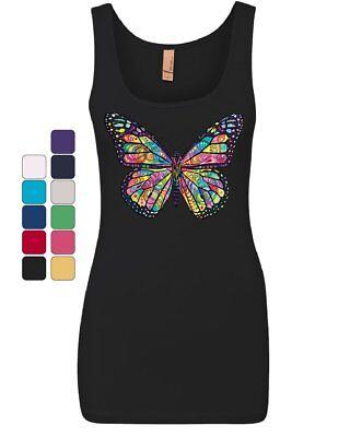 Dean Russo Butterfly Women's Tank Top Multicolor Summer Wings Monarch Top (Butterfly Womens Tank Top)