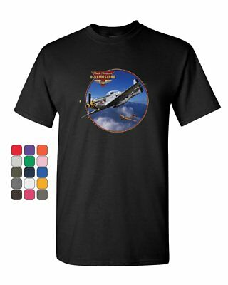 P-51 Mustang T-Shirt WW2 American Fighter Aircraft Air Force Mens Tee Shirt