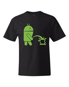 Funny Humor Android Robot Peeing On Apple High Quality