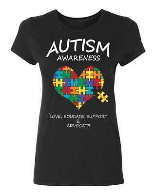 Autism Awareness Support Heart Puzzle (Colored) Women's T-shirt Autism tee