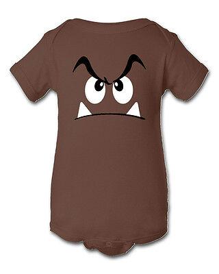 Goomba Super Mario Inspired Infant Baby Newborn Onesie Crawler Halloween Costume