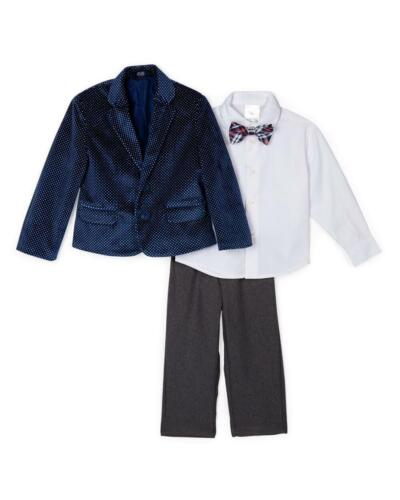 NAUTICA Toddler Boys Navy/Gray Polka-Dot Velvet 4-Piece Suit Sizes 2T NEW