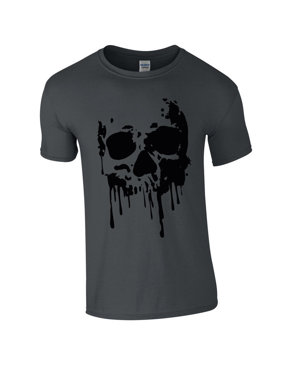 T-Shirt Skull Totenkopf Blood Blut Herren S-3XL grau grey Dead Head Death cool