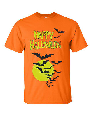 Happy Halloween Bats Moon Orange T shirt/Horror/Mask/Tattoo/Funny/Cotton/Top/Tee (Orange Moon Halloween)