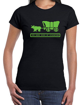 202 Died Of Dysentery Womens T Shirt Oregon Video Game Trail Vintage 80S Vintage