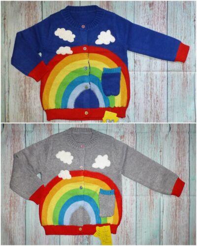 NWT Boutique Rainbow Girls Blue Gray Cardigan Sweater