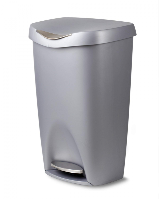 Umbra Brim 13-Gallon Step Waste Can, Nickel