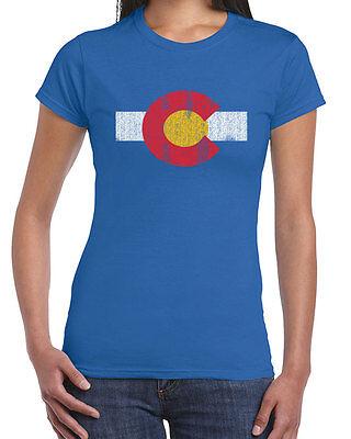451 Colorado Flag Womens T Shirt Flag Rocky Mountains West Denver Pride Vintage
