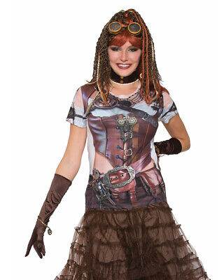 Adult's Womens Futuristic Steampunk Printed Costume Sublimation (Futuristic Steampunk)