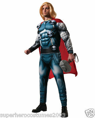 Avengers Age Of Ultron Thor Deluxe Muskel Kostüm Umfasst Perücke & Hammer!