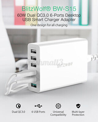 BlitzWolf BW-S15 60W QC3.0 6 Port Travel USB Phone Charger Adapter Wall...