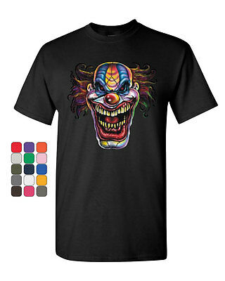 Mad Evil Clown Face T-Shirt Scary Horror Insane Joker Tee Shirt - Scary Clown Face