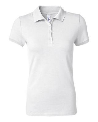 New Bella+Canvas Women Cotton Spandex Mini Pique Short Sleeve Polo White L-XL