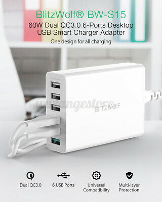 BlitzWolf BW-S15 60W Dual QC3.0 6-Ports USB Desktop Smart Charger Adapter A