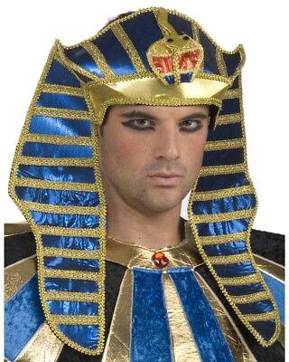 Deluxe King Tut Egyptian Pharaoh Costume Headpiece Hat Adult Mens Royal Ramses