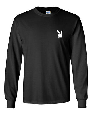 Playboy Bunny Custom Mens Long Sleeve T-Shirt Tee New-Black (Black Long Sleeve T-shirt Tee)