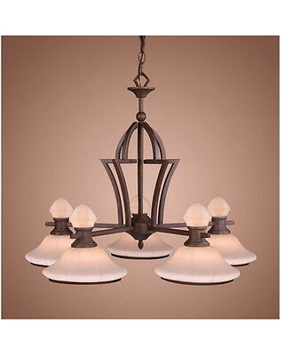 Weathered Patina With Frosted Glass 5 Light Chandelier