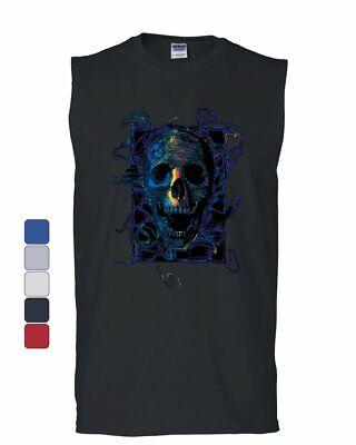 Neon Skull Muscle Shirt Reaper Death Skeleton Grin Doom Halloween - Halloween Muscle
