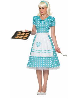 Blue Polka Dot Dress Costume (Womens 50s Classic Housewife Wife Blue Polka Dot Dress Apron)