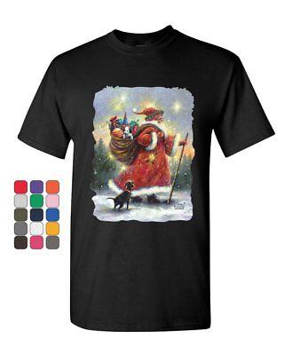 Santa Claus Christmas Eve T-Shirt Holiday Spirit Xmas Rudolph Mens Tee Shirt ()