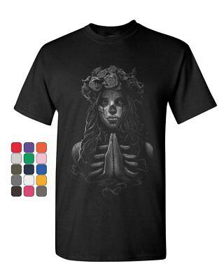 Pray Girl T-Shirt Calavera Day of the Dead Dia de los Muertos Mens Tee Shirt](Calavera Girl)