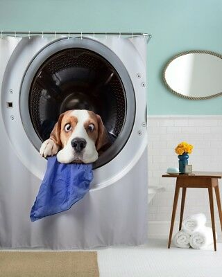 Solid Water Repellent Bathroom Shower Curtain 3D Dog Home Decor Free Hooks