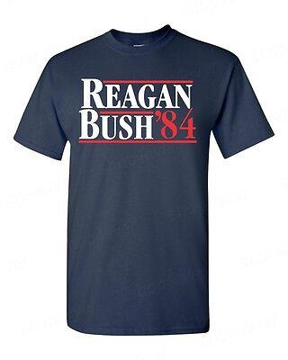 REAGAN BUSH`84 T-Shirt Fun Political Election Ronald 80s Retro Republican (Reagan Republican)