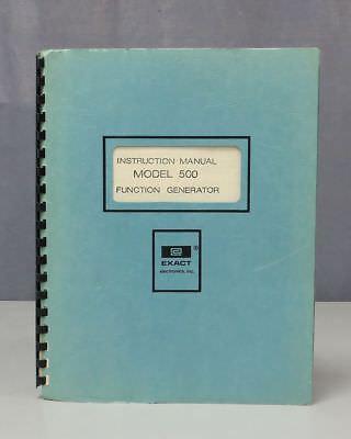 Exact Electronics Inc. Function Generator Model 500 Instruction Manual