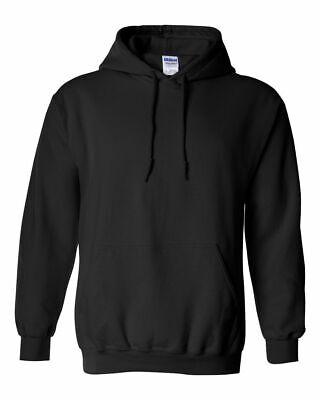 NEW Hood Plain Black Sweatshirt Men Women Pullover Hoodie Cotton Blank Gildan
