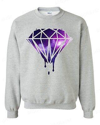 Bleeding Melting Dripping Galaxy Diamond Crewneck Galaxy Design Sweatshirt
