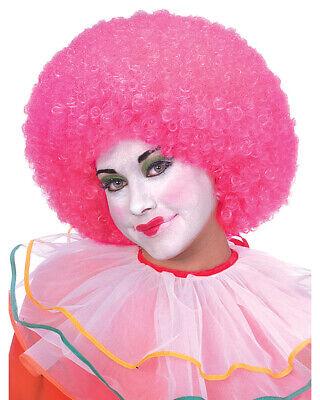 Clown Hair Wig (Adults Neon Pink Circus Clown Afro Hair Wig Costume)