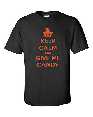 Keep Calm and Give Me Candy Halloween Trick or Treat Funny Men's Tee Shirt](Halloween Candy And Treats)