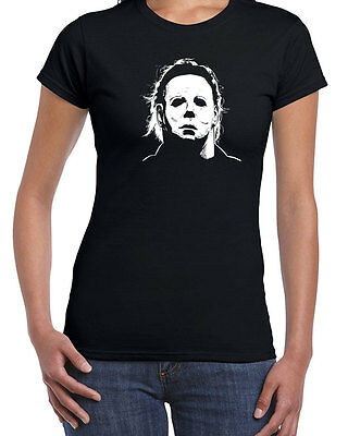 010 Halloween Mask women's T-shirt scary 70s party costume haddonfield new - Super Scary Masks