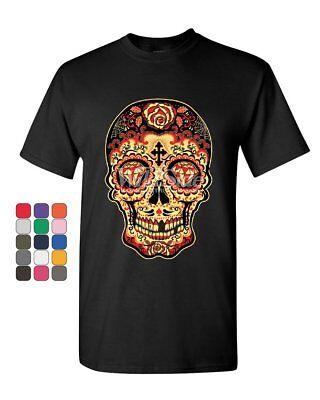 Day Of The Dead Man (Day of The Dead Sugar Skull T-Shirt Gold Calavera Dia de Muertos Mens Tee)