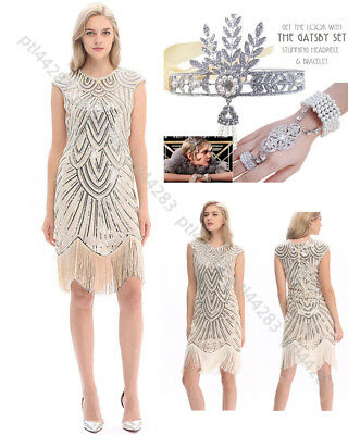 Ladies 1920s Roaring 20s 30s Flapper Costume Sequin Pearls Outfit Fancy Dress