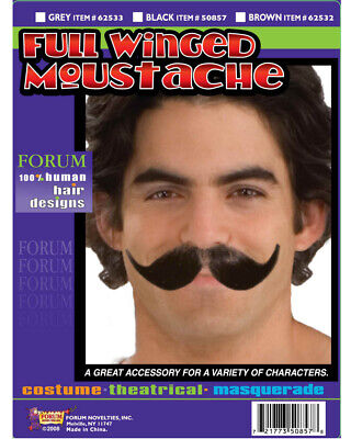 Old Timey Halloween (Grey Handlebar Full Winged Old Timey Bar Fight Moustache Costume)