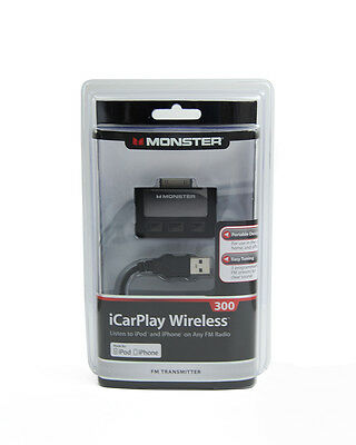 Monster Cable iCarplay 300 Wireless FM Transmitter Dock Connector iPod iPhone