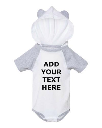 Custom Baby Bodysuit Raglan One Piece Jump Suit Hood Ears Personalized Gift