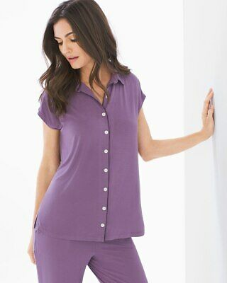SOMA COOL NIGHTS CAP SL NOTCH COLLAR PAJAMA SHIRT SHADOW PLUM SIZE SMALL NEW](Cool Nights Pajamas)