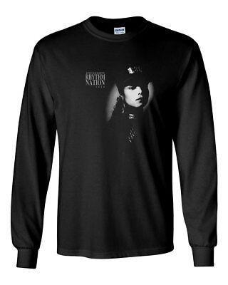 Janet Jackson Rhythm Nation Custom Mens Long Sleeve T Shirt Tee New Black