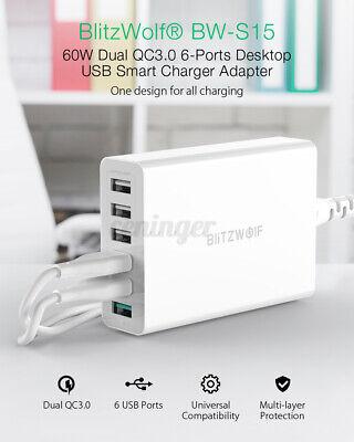 BlitzWolf BW-S15 60W QC3.0 6 Port Desktop USB Phone Charger Adapter Wall...