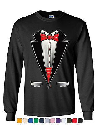Funny Tuxedo Bow Tie Long Sleeve T-Shirt Tux Wedding Party