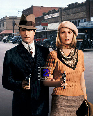 "Bonnie and Clyde Warren Beatty & Faye Dunaway 8""x 10"" Colorized PHOTO REPRINT"